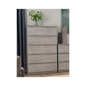 Vysoká komoda s 5 zásuvkami Carlos, šedý beton, 75 cm