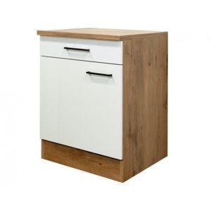 Dolní kuchyňská skříňka Avila US60, dub lancelot/krémová, šířka 60 cm