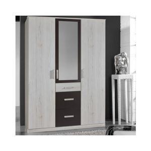 Šatní skříň Cariba, 135 cm, bělený dub/lávová
