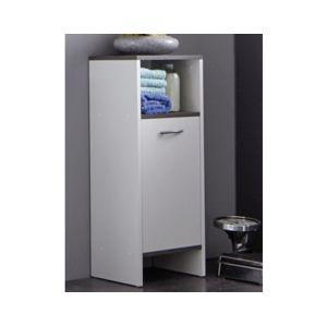Koupelnová boční skříňka California, bílá/šedý dub