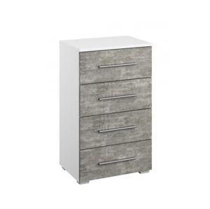 Zásuvková komoda Siegen, bílý/šedý beton